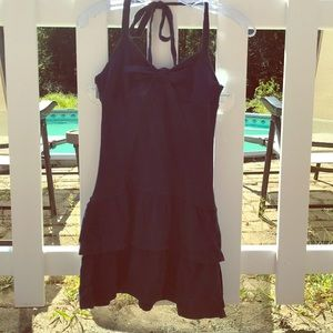 Women's navy blue halter top ruffle dress